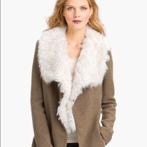 Theory Troyda shearling collar wool coat